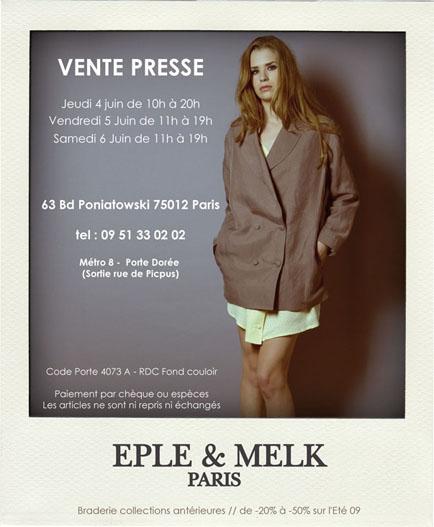 INVITATION VENTE PRESSE EPLE & MELK